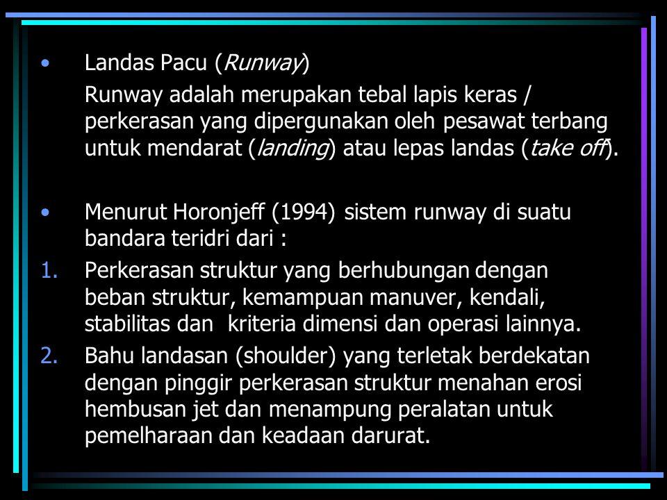 Landas Pacu (Runway) Runway adalah merupakan tebal lapis keras / perkerasan yang dipergunakan oleh pesawat terbang untuk mendarat (landing) atau lepas