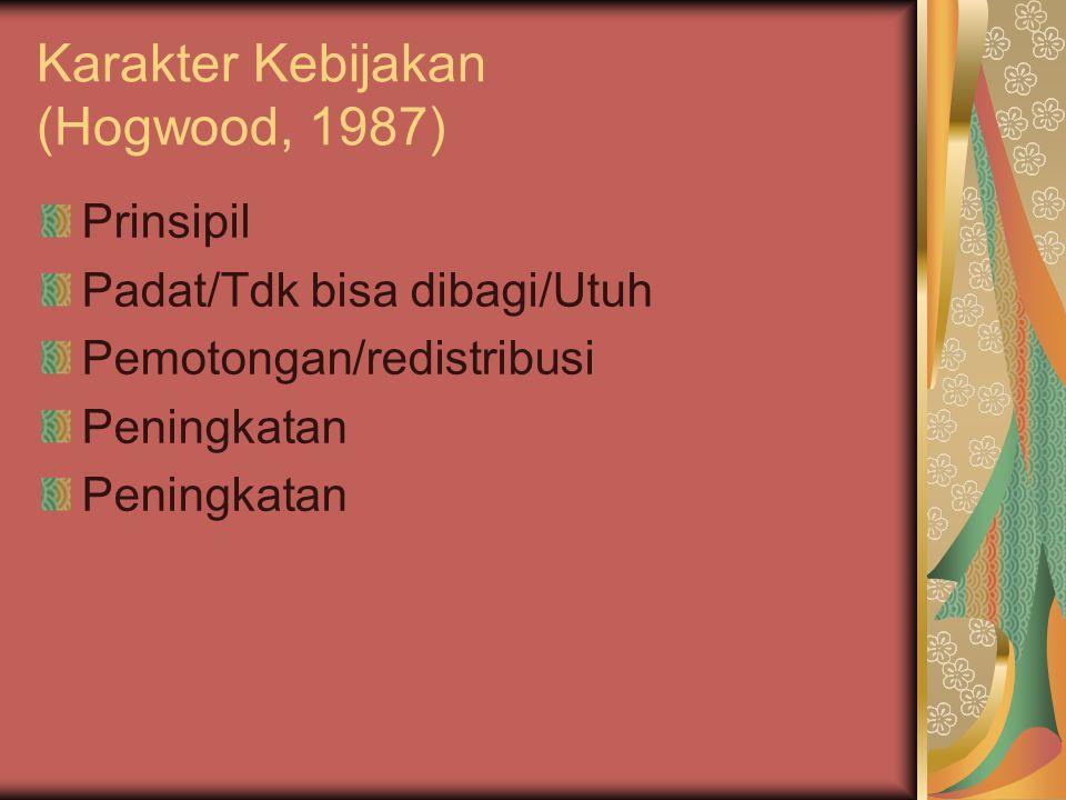 Karakter Kebijakan (Hogwood, 1987) Prinsipil Padat/Tdk bisa dibagi/Utuh Pemotongan/redistribusi Peningkatan