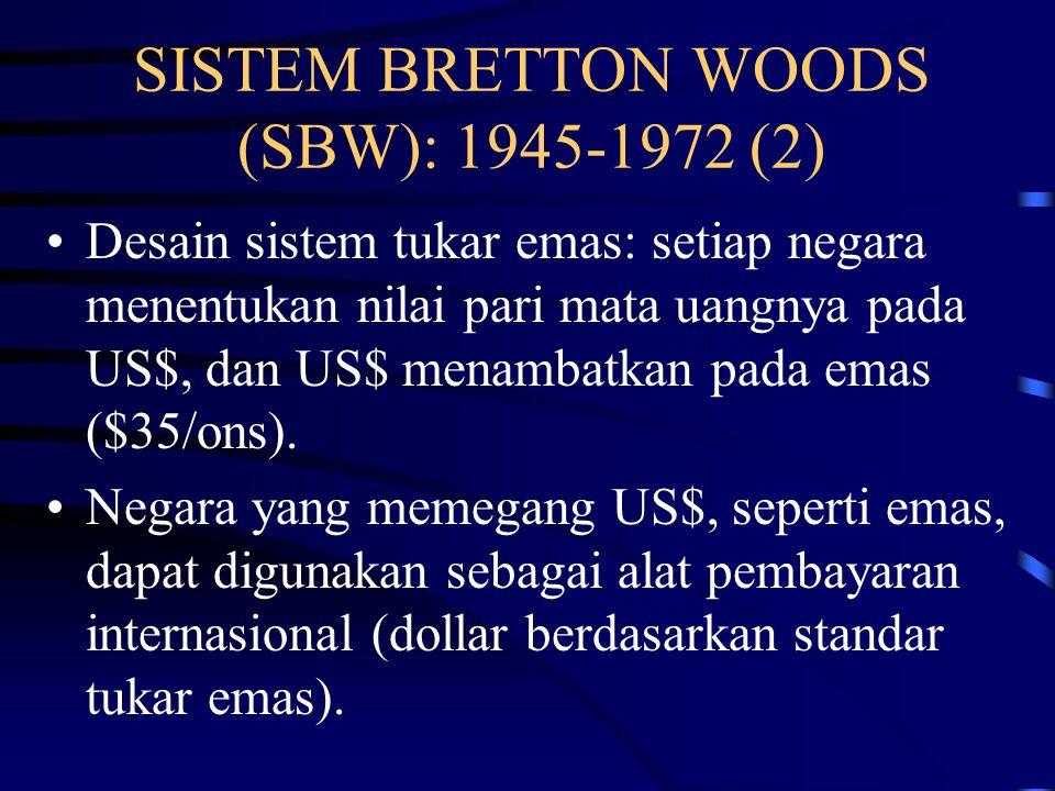 SISTEM BRETTON WOODS (SBW): 1945-1972 (1) SBW dihasilkan dari pertemuan 44 wakil negara di Bretton Woods, New Hampshire, pada Juli 1944.