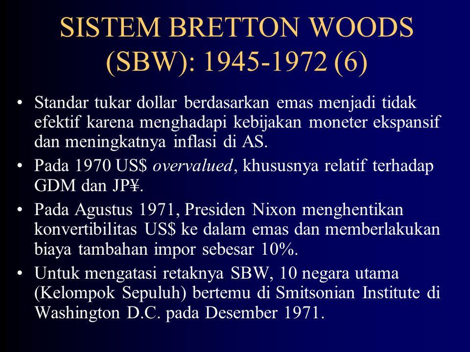 SISTEM BRETTON WOODS (SBW): 1945-1972 (5) Nilai SDR: 1.