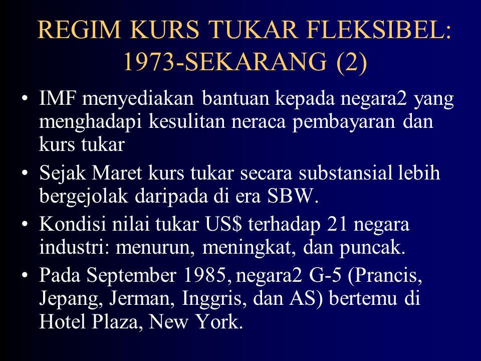 REGIM KURS TUKAR FLEKSIBEL: 1973-SEKARANG (1) Dengan matinya SBW, pada Januari 1976 anggota IMF bertemu di Jamaika untuk menyetujui peraturan SMI yang baru.