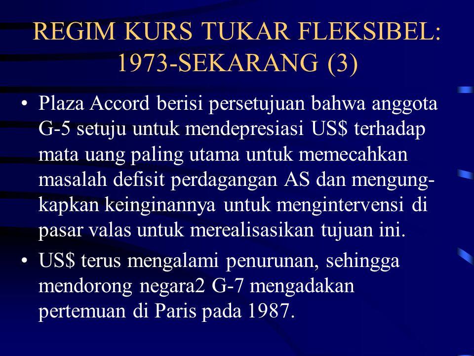 REGIM KURS TUKAR FLEKSIBEL: 1973-SEKARANG (2) IMF menyediakan bantuan kepada negara2 yang menghadapi kesulitan neraca pembayaran dan kurs tukar Sejak Maret kurs tukar secara substansial lebih bergejolak daripada di era SBW.