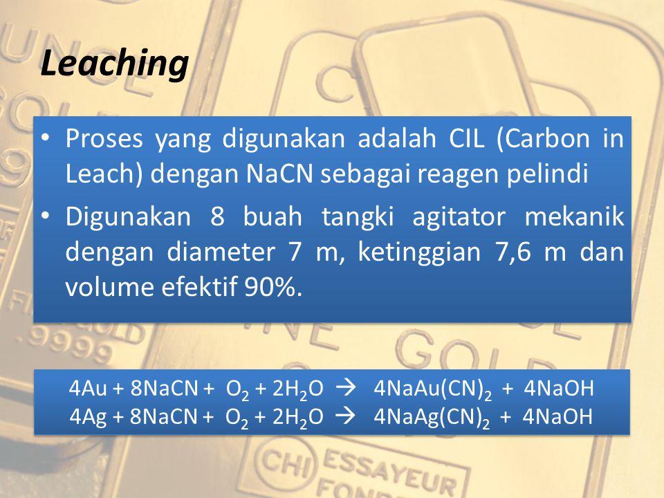 Leaching Proses yang digunakan adalah CIL (Carbon in Leach) dengan NaCN sebagai reagen pelindi Digunakan 8 buah tangki agitator mekanik dengan diamete