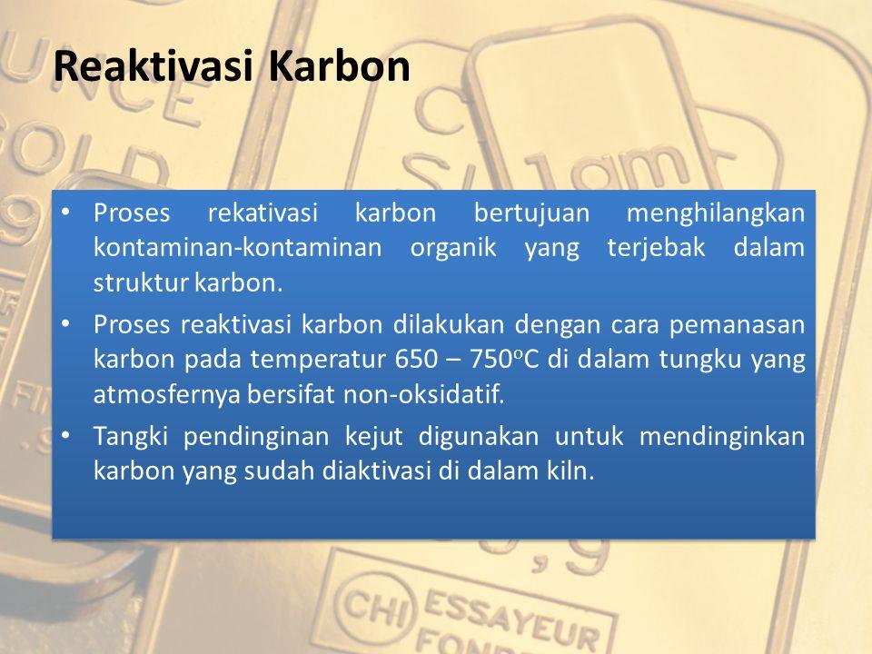 Reaktivasi Karbon Proses rekativasi karbon bertujuan menghilangkan kontaminan-kontaminan organik yang terjebak dalam struktur karbon. Proses reaktivas