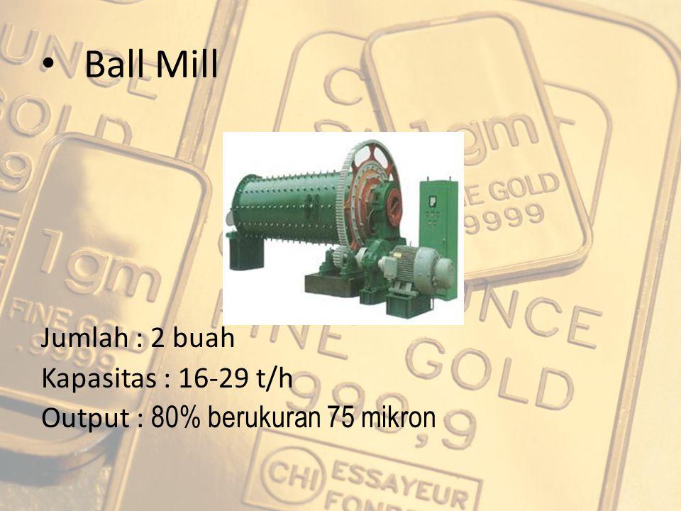Ball Mill Jumlah : 2 buah Kapasitas : 16-29 t/h Output : 80% berukuran 75 mikron