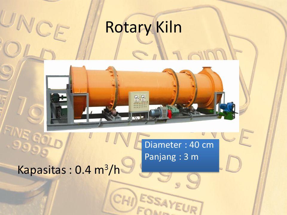 Rotary Kiln Kapasitas : 0.4 m 3 /h Diameter : 40 cm Panjang : 3 m Diameter : 40 cm Panjang : 3 m