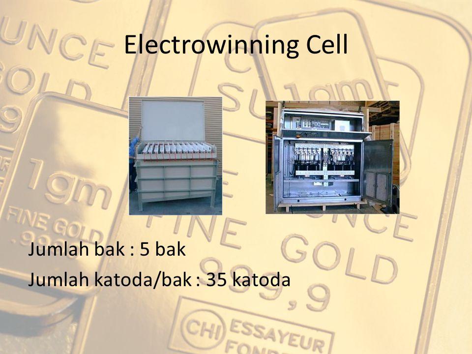 Electrowinning Cell Jumlah bak : 5 bak Jumlah katoda/bak : 35 katoda