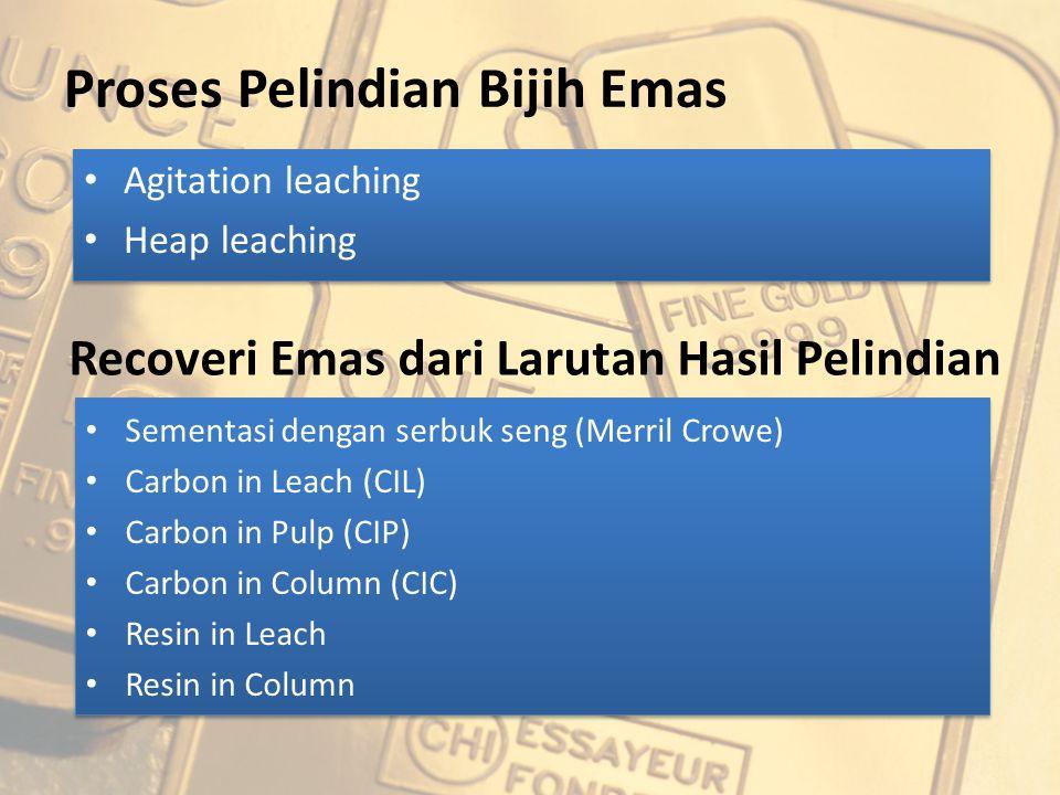 Leaching Proses yang digunakan adalah CIL (Carbon in Leach) dengan NaCN sebagai reagen pelindi Digunakan 8 buah tangki agitator mekanik dengan diameter 7 m, ketinggian 7,6 m dan volume efektif 90%.