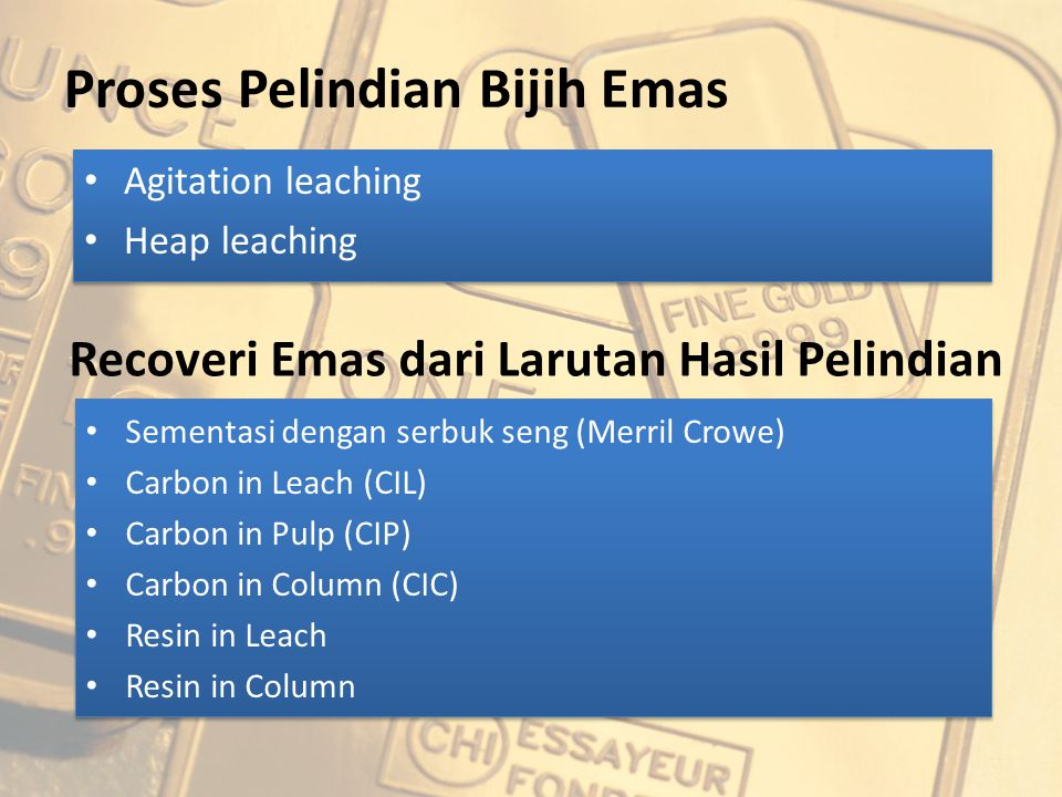 Proses Pelindian Bijih Emas Agitation leaching Heap leaching Agitation leaching Heap leaching Recoveri Emas dari Larutan Hasil Pelindian Sementasi den