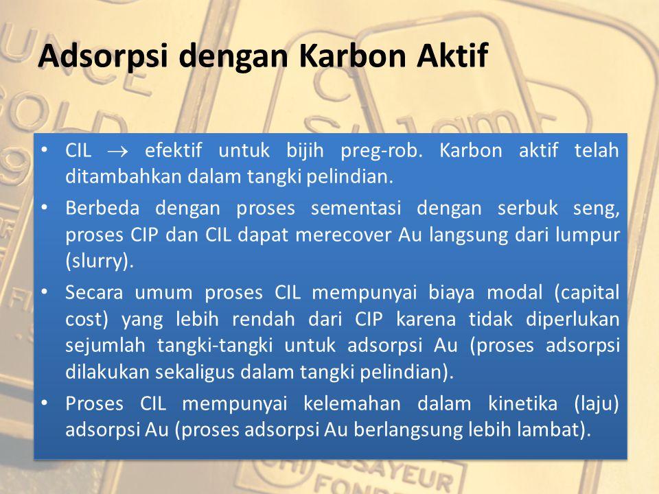 Adsorpsi dengan Karbon Aktif CIL  efektif untuk bijih preg-rob. Karbon aktif telah ditambahkan dalam tangki pelindian. Berbeda dengan proses sementas