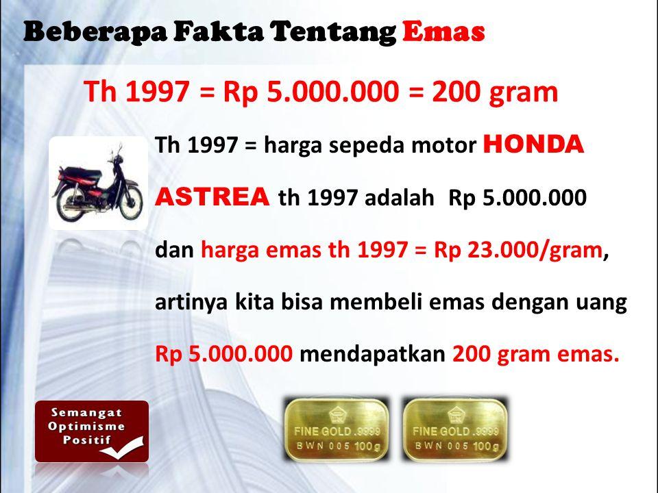 Th 1997 = Rp 5.000.000 = 200 gram Th 1997 = harga sepeda motor HONDA ASTREA th 1997 adalah Rp 5.000.000 dan harga emas th 1997 = Rp 23.000/gram, artinya kita bisa membeli emas dengan uang Rp 5.000.000 mendapatkan 200 gram emas.