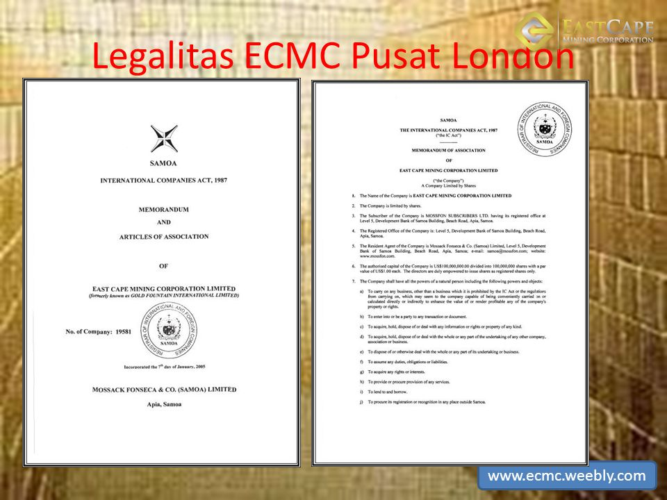 Legalitas ECMC Pusat London www.ecmc.weebly.com