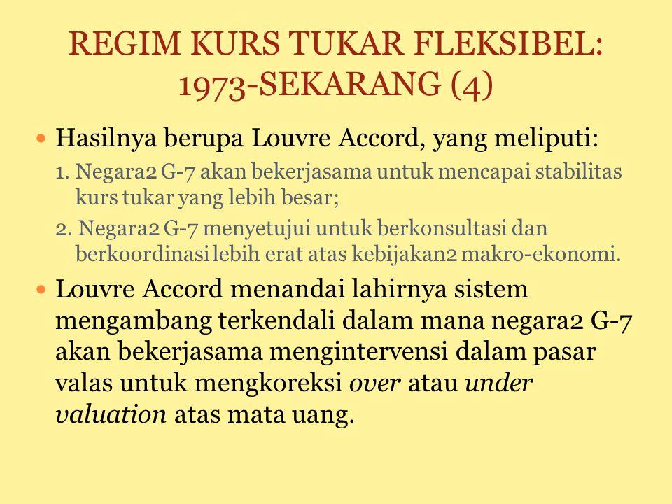 REGIM KURS TUKAR FLEKSIBEL: 1973-SEKARANG (2) IMF menyediakan bantuan kepada negara2 yang menghadapi kesulitan neraca pembayaran dan kurs tukar Kondis