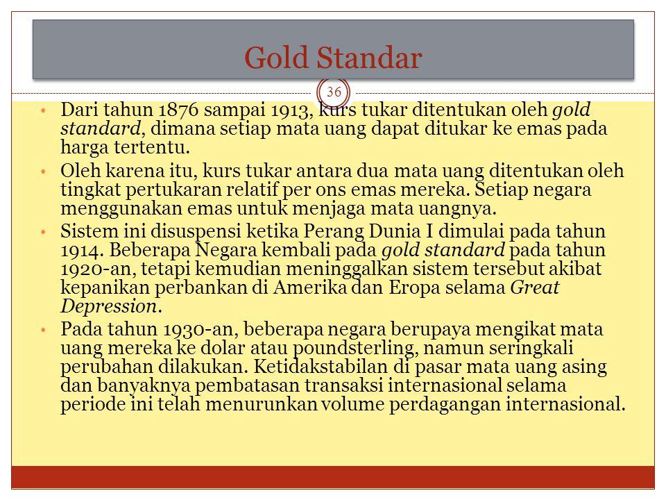 Sejarah Nilai Tukar Sistem nilai tukar yang digunakan untuk pertukaran mata uang asing pada awalnya adalah Gold Standard. Dikarenakan terdapat beberap