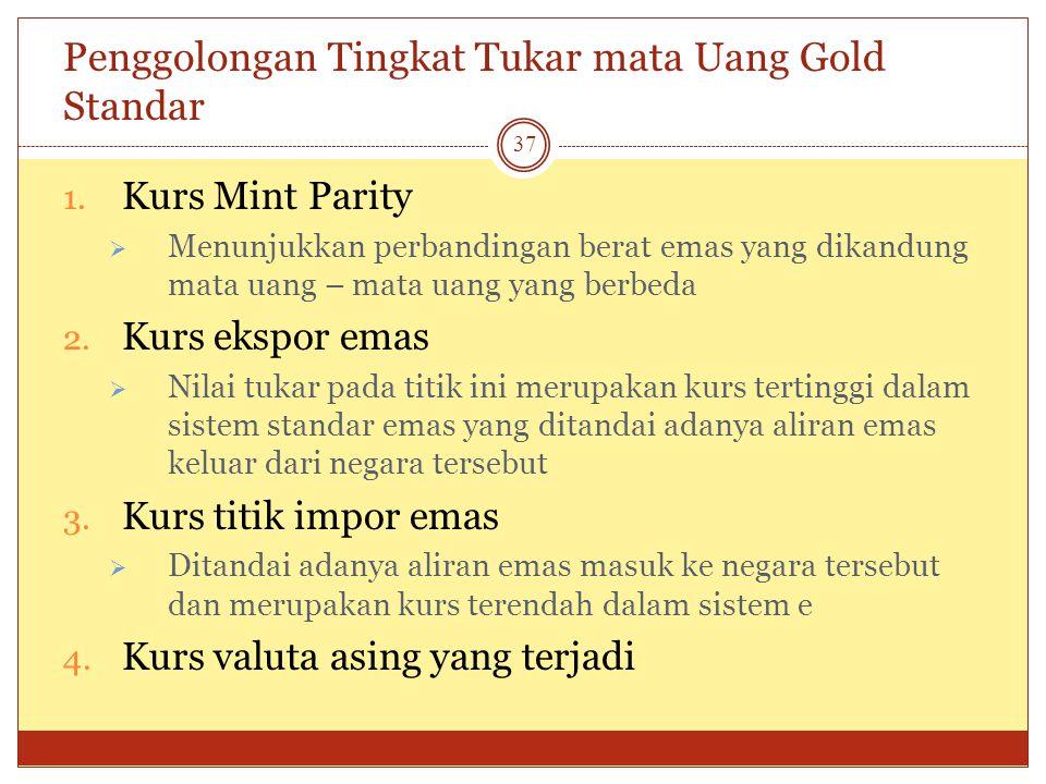 Gold Standar Dari tahun 1876 sampai 1913, kurs tukar ditentukan oleh gold standard, dimana setiap mata uang dapat ditukar ke emas pada harga tertentu.