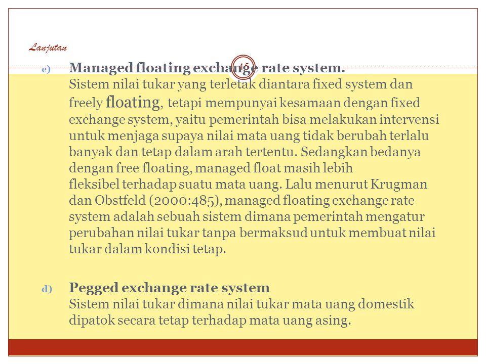Sistem-Sistem Nilai Tukar Sistem nilai tukar yang ditentukan oleh pemerintah, ada beberapa jenis, antara lain : a) Fixed exchange rate system Sistem n