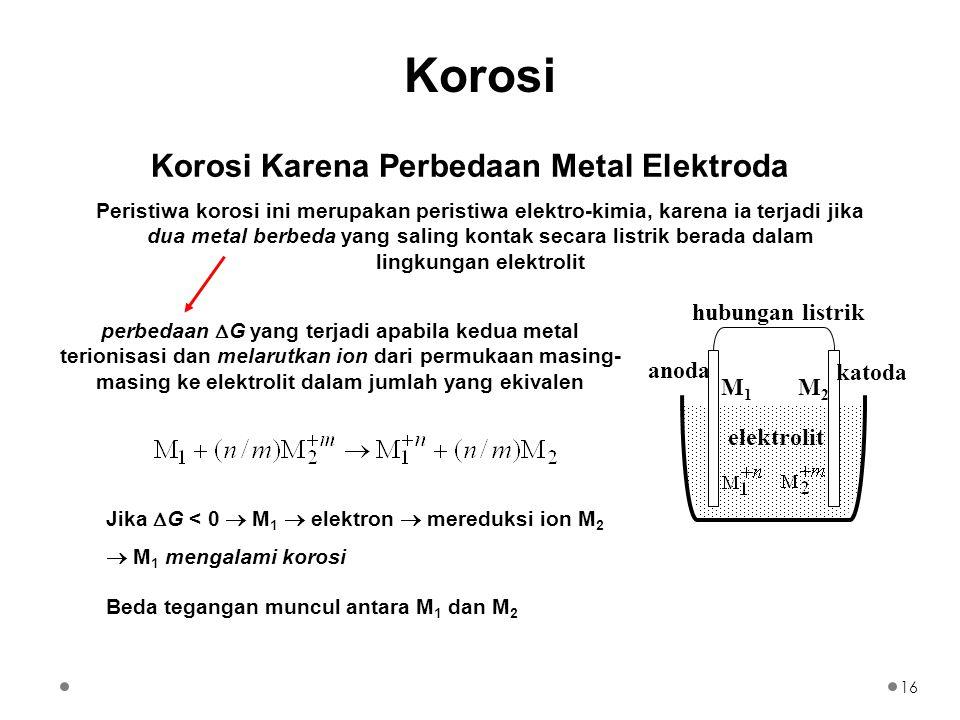 Korosi Karena Perbedaan Metal Elektroda hubungan listrik katoda anoda elektrolit M1M1 M2M2 Peristiwa korosi ini merupakan peristiwa elektro-kimia, karena ia terjadi jika dua metal berbeda yang saling kontak secara listrik berada dalam lingkungan elektrolit perbedaan  G yang terjadi apabila kedua metal terionisasi dan melarutkan ion dari permukaan masing- masing ke elektrolit dalam jumlah yang ekivalen Jika  G < 0  M 1  elektron  mereduksi ion M 2  M 1 mengalami korosi Beda tegangan muncul antara M 1 dan M 2 16 Korosi