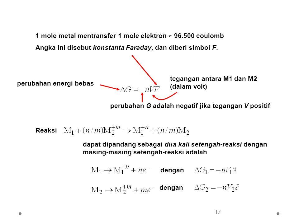 dapat dipandang sebagai dua kali setengah-reaksi dengan masing-masing setengah-reaksi adalah Reaksi dengan 1 mole metal mentransfer 1 mole elektron  96.500 coulomb Angka ini disebut konstanta Faraday, dan diberi simbol F.