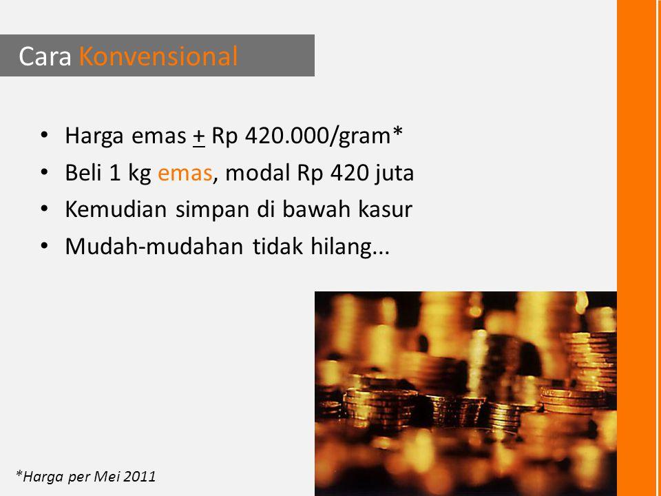 Harga emas saat ini + Rp 420.000* Harga 1 kg emas + Rp 420 juta *Harga per Mei 2011