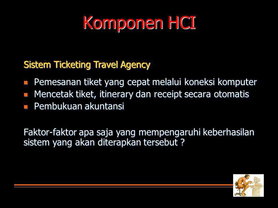 Sistem Ticketing Travel Agency Pemesanan tiket yang cepat melalui koneksi komputer Pemesanan tiket yang cepat melalui koneksi komputer Mencetak tiket,