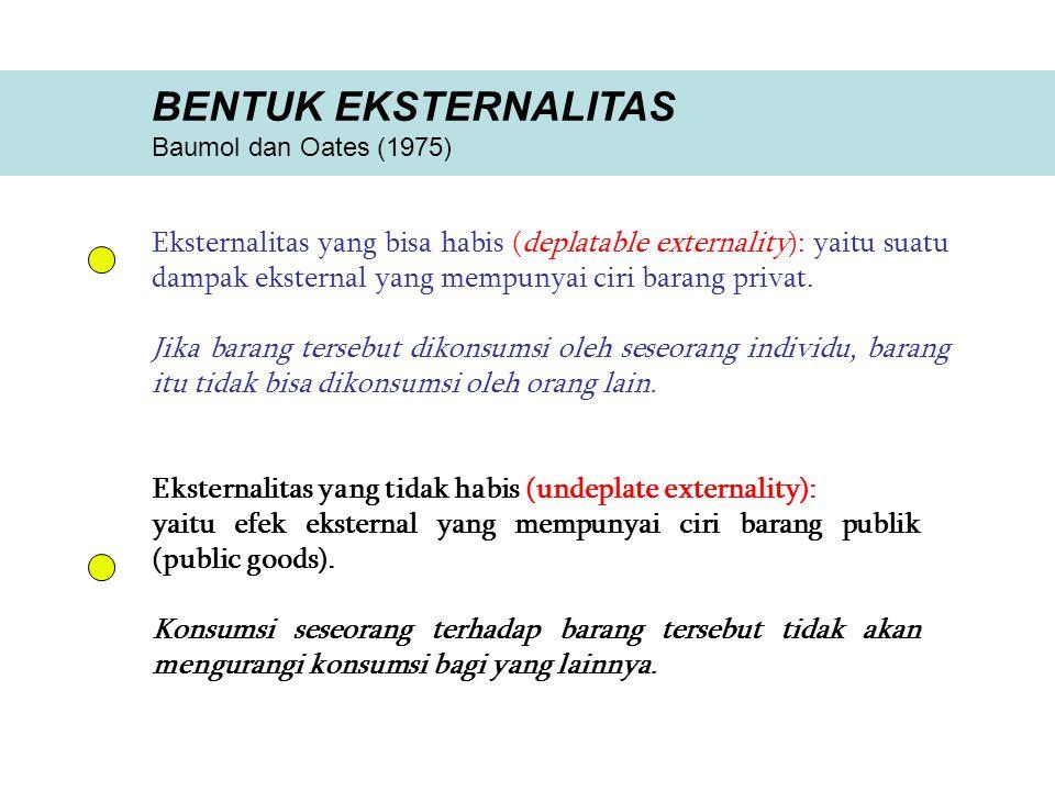 BENTUK EKSTERNALITAS Baumol dan Oates (1975) Eksternalitas yang bisa habis (deplatable externality): yaitu suatu dampak eksternal yang mempunyai ciri barang privat.
