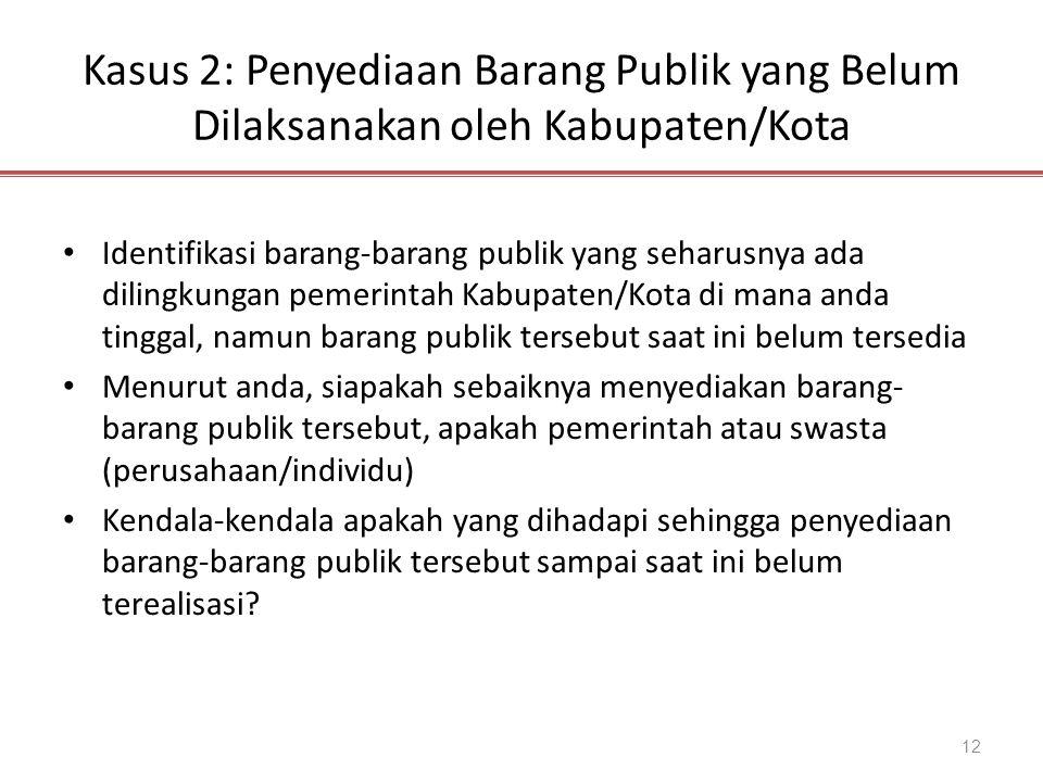 Kasus 2: Penyediaan Barang Publik yang Belum Dilaksanakan oleh Kabupaten/Kota 12 Identifikasi barang-barang publik yang seharusnya ada dilingkungan pe