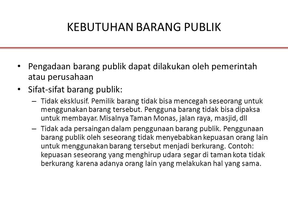 KEBUTUHAN BARANG PUBLIK Pengadaan barang publik dapat dilakukan oleh pemerintah atau perusahaan Sifat-sifat barang publik: – Tidak eksklusif. Pemilik