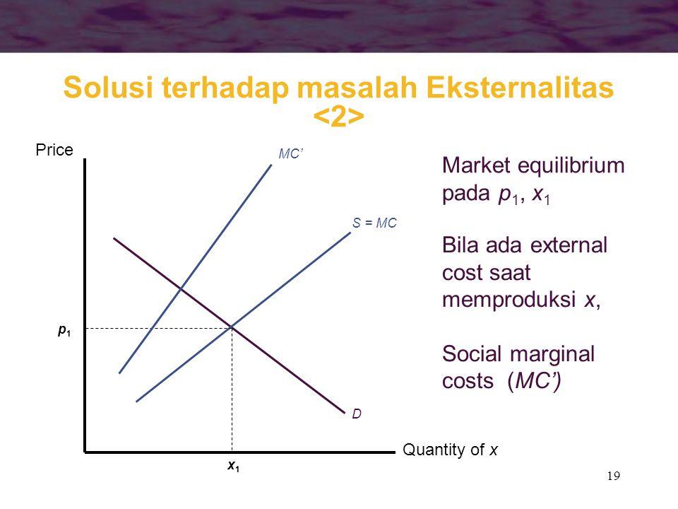 19 Quantity of x Price S = MC D x1x1 p1p1 Market equilibrium pada p 1, x 1 Bila ada external cost saat memproduksi x, Social marginal costs (MC') MC'