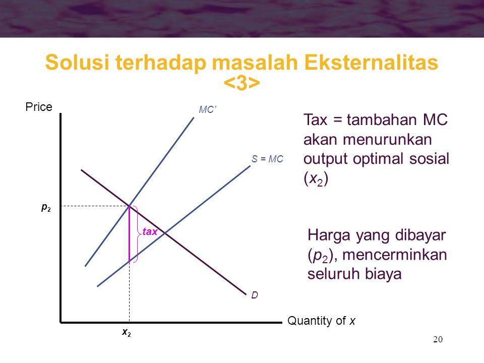 20 Quantity of x Price S = MC MC' D x2x2 tax Tax = tambahan MC akan menurunkan output optimal sosial (x 2 ) p2p2 Harga yang dibayar (p 2 ), mencermink