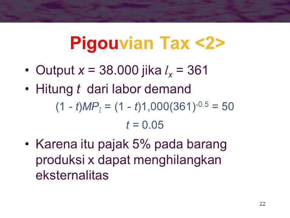 22 Output x = 38.000 jika l x = 361 Hitung t dari labor demand (1 - t)MP l = (1 - t)1,000(361) -0.5 = 50 t = 0.05 Karena itu pajak 5% pada barang prod