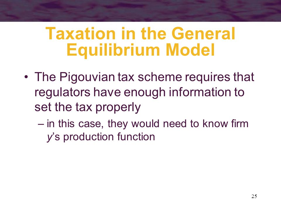 25 Taxation in the General Equilibrium Model The Pigouvian tax scheme requires that regulators have enough information to set the tax properly –in thi