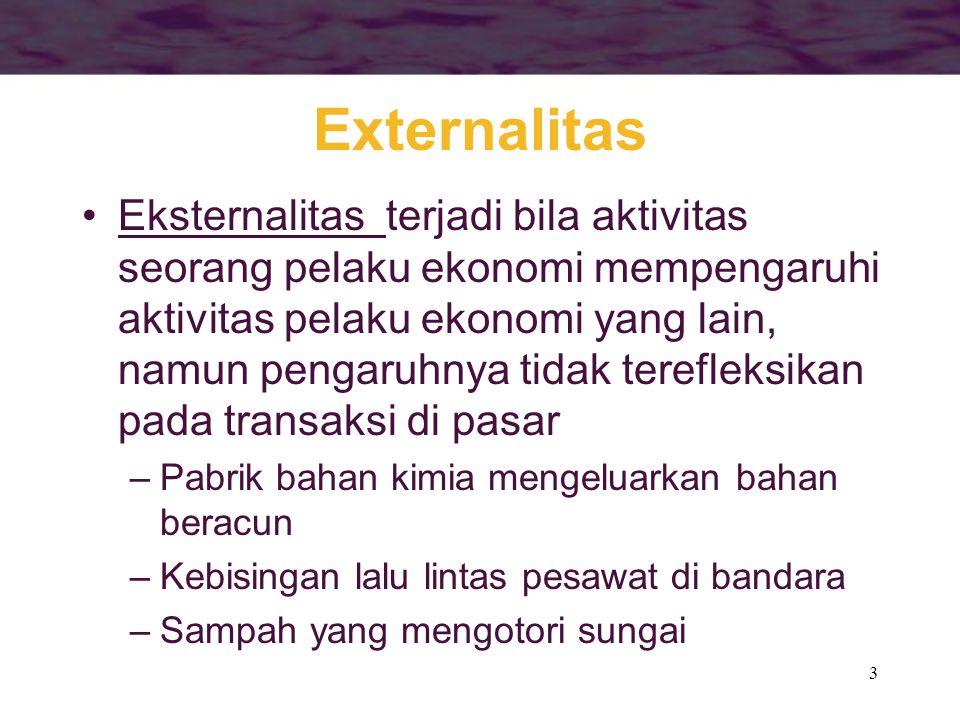 3 Externalitas Eksternalitas terjadi bila aktivitas seorang pelaku ekonomi mempengaruhi aktivitas pelaku ekonomi yang lain, namun pengaruhnya tidak te