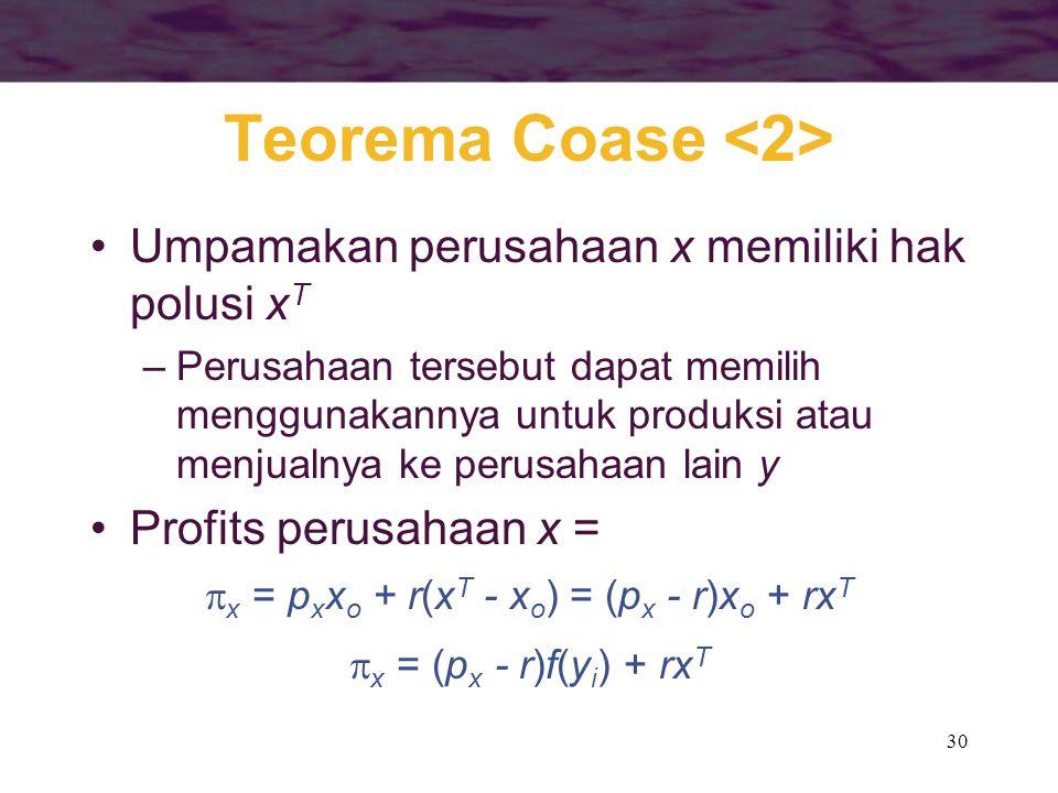 30 Teorema Coase Umpamakan perusahaan x memiliki hak polusi x T –Perusahaan tersebut dapat memilih menggunakannya untuk produksi atau menjualnya ke pe