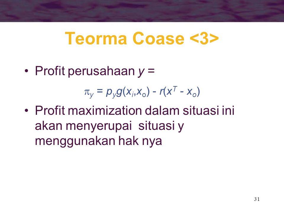 31 Teorma Coase Profit perusahaan y =  y = p y g(x i,x o ) - r(x T - x o ) Profit maximization dalam situasi ini akan menyerupai situasi y menggunaka