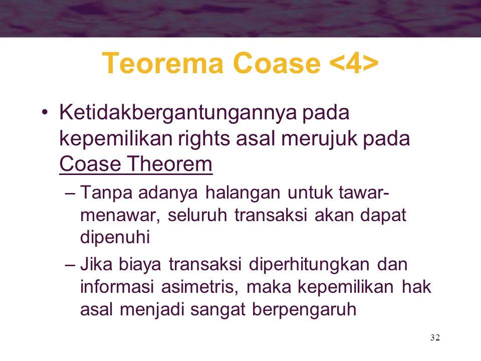 32 Teorema Coase Ketidakbergantungannya pada kepemilikan rights asal merujuk pada Coase Theorem –Tanpa adanya halangan untuk tawar- menawar, seluruh t