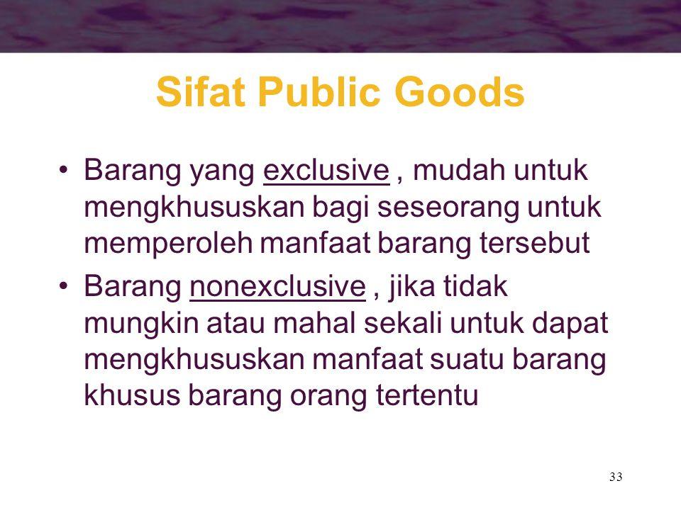 33 Sifat Public Goods Barang yang exclusive, mudah untuk mengkhususkan bagi seseorang untuk memperoleh manfaat barang tersebut Barang nonexclusive, ji