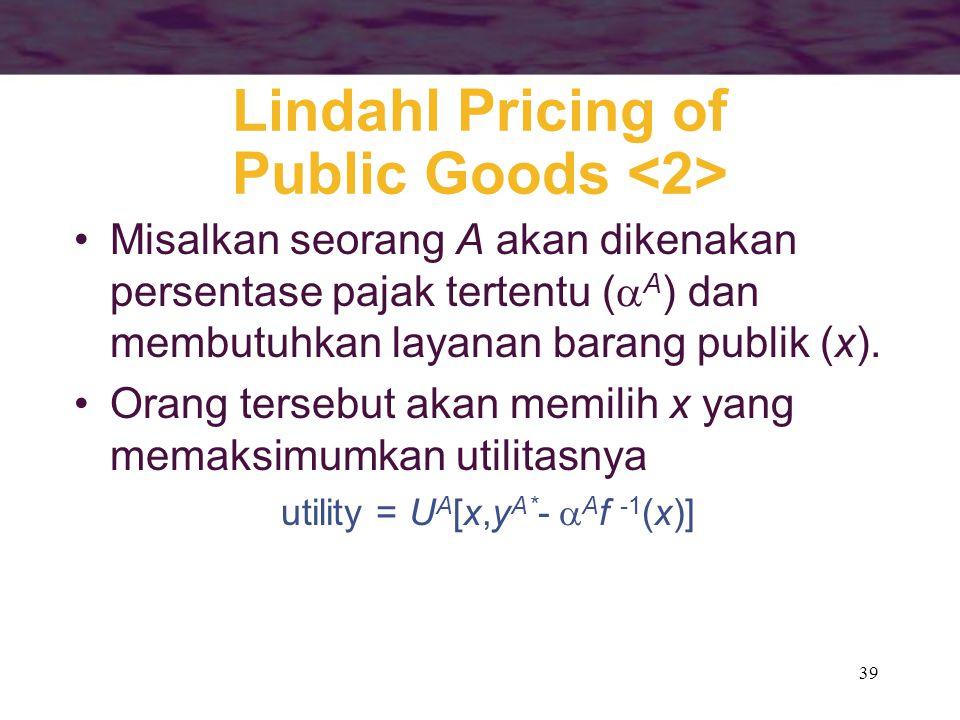 39 Lindahl Pricing of Public Goods Misalkan seorang A akan dikenakan persentase pajak tertentu (  A ) dan membutuhkan layanan barang publik (x). Oran