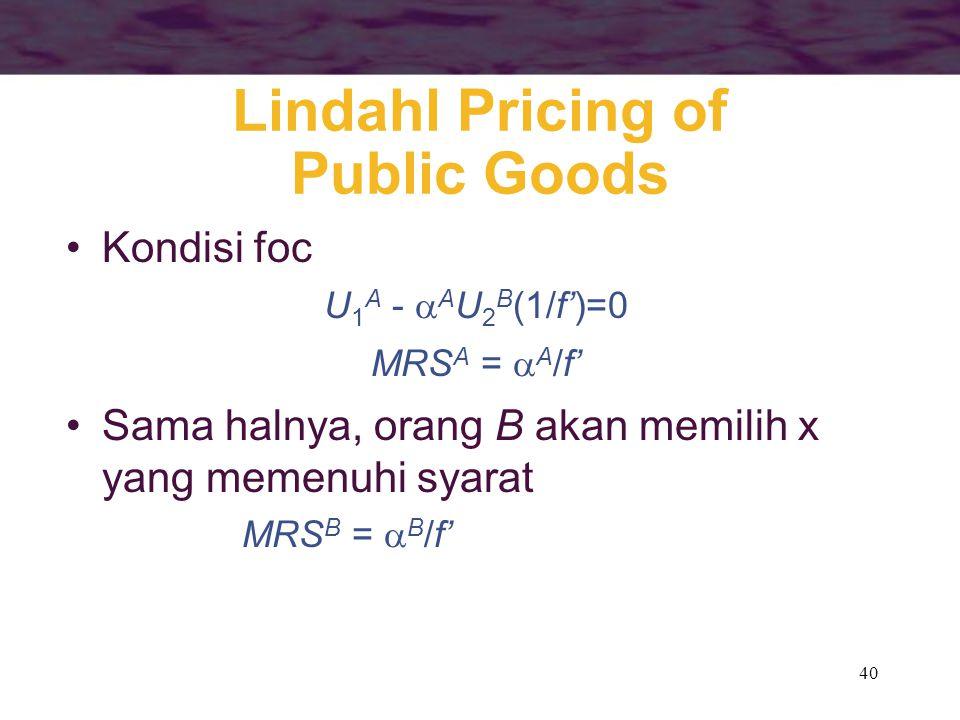 40 Lindahl Pricing of Public Goods Kondisi foc U 1 A -  A U 2 B (1/f')=0 MRS A =  A /f' Sama halnya, orang B akan memilih x yang memenuhi syarat MRS