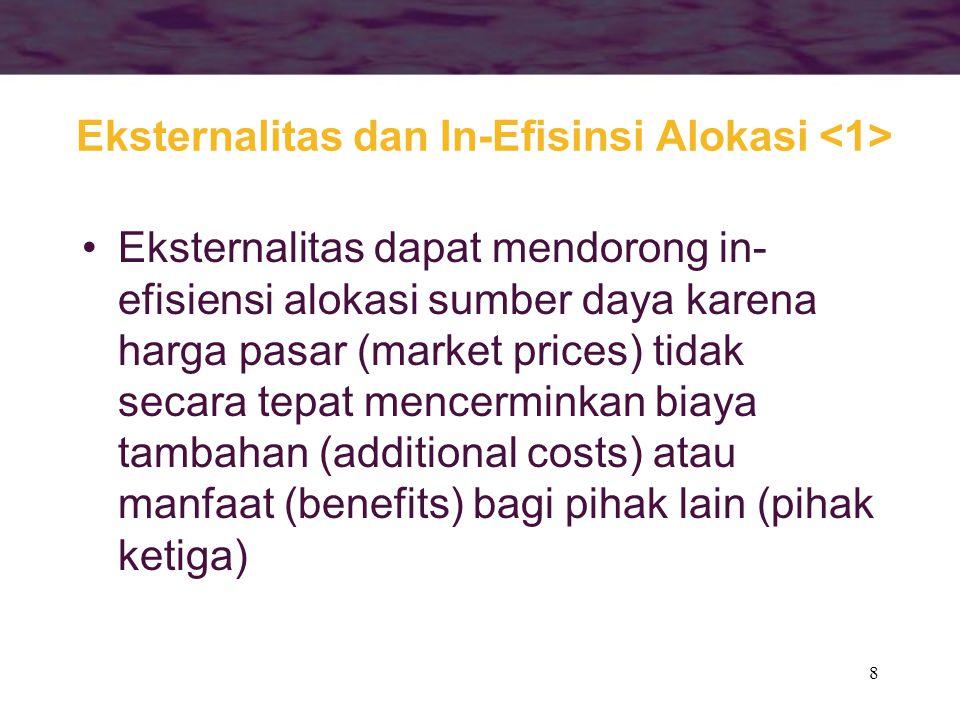 8 Eksternalitas dan In-Efisinsi Alokasi Eksternalitas dapat mendorong in- efisiensi alokasi sumber daya karena harga pasar (market prices) tidak secar