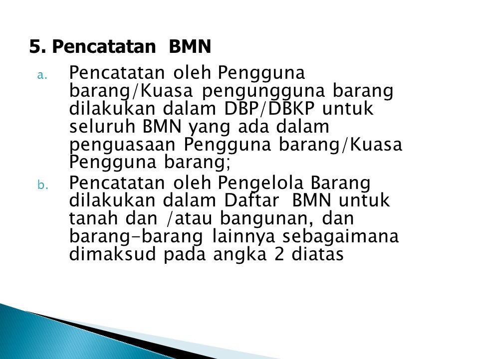 a. Pencatatan oleh Pengguna barang/Kuasa pengungguna barang dilakukan dalam DBP/DBKP untuk seluruh BMN yang ada dalam penguasaan Pengguna barang/Kuasa