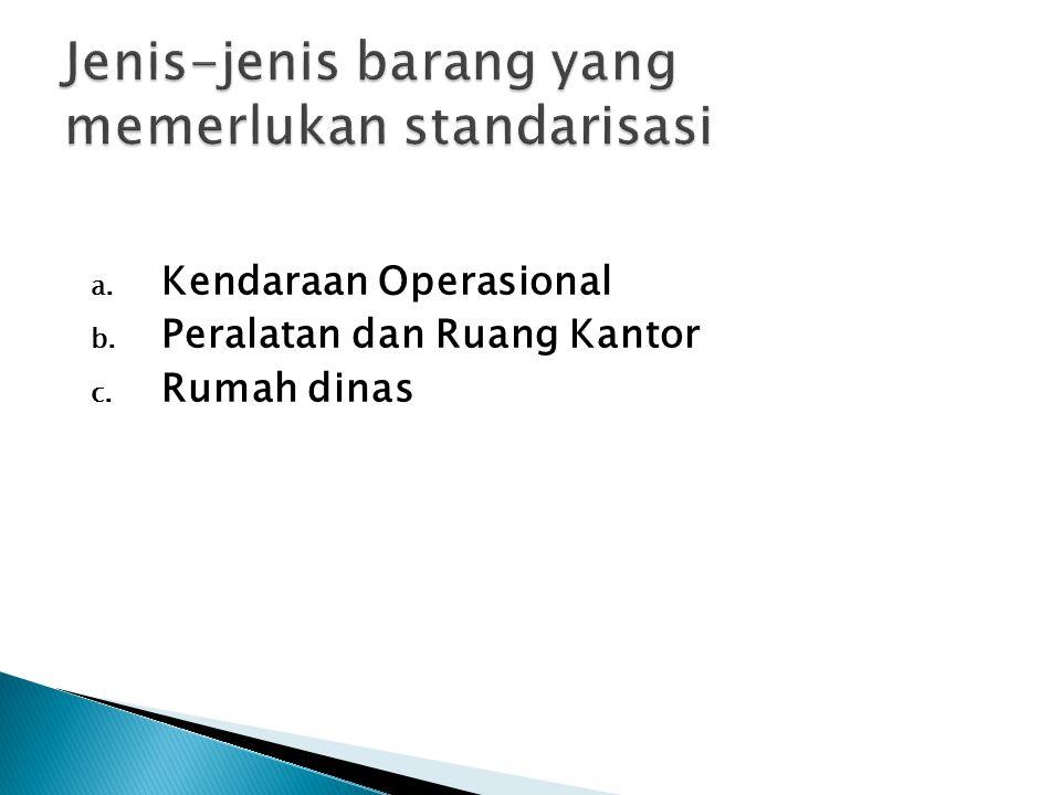 a. Kendaraan Operasional b. Peralatan dan Ruang Kantor c. Rumah dinas