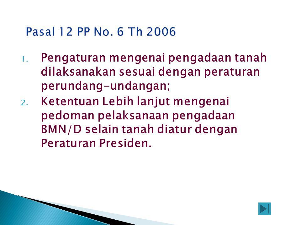 1. Pengaturan mengenai pengadaan tanah dilaksanakan sesuai dengan peraturan perundang-undangan; 2. Ketentuan Lebih lanjut mengenai pedoman pelaksanaan