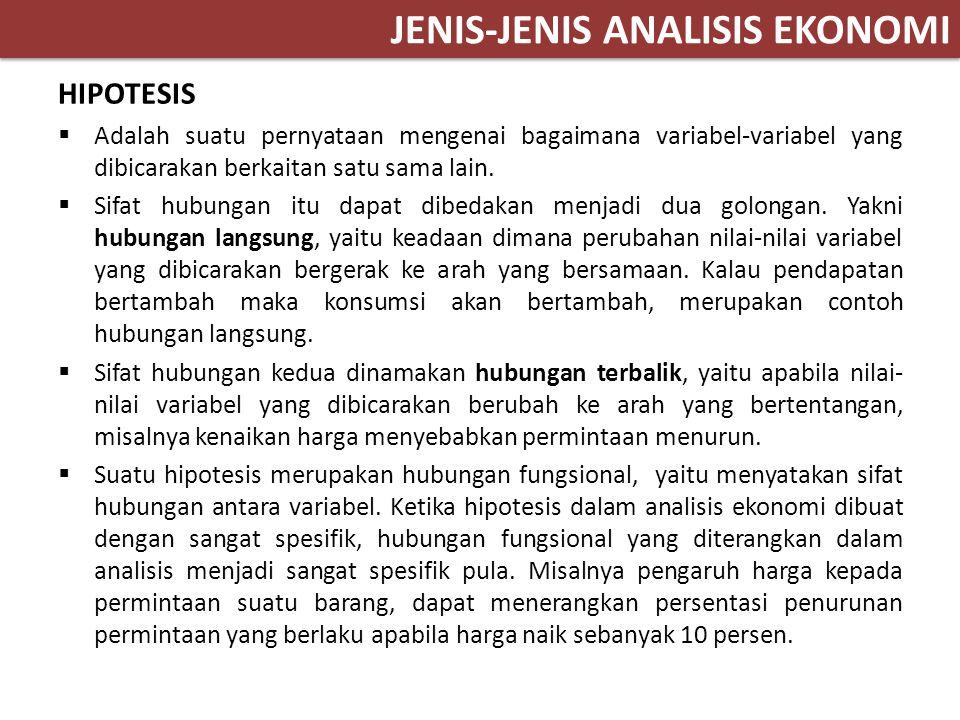 JENIS-JENIS ANALISIS EKONOMI HIPOTESIS  Adalah suatu pernyataan mengenai bagaimana variabel-variabel yang dibicarakan berkaitan satu sama lain.  Sif