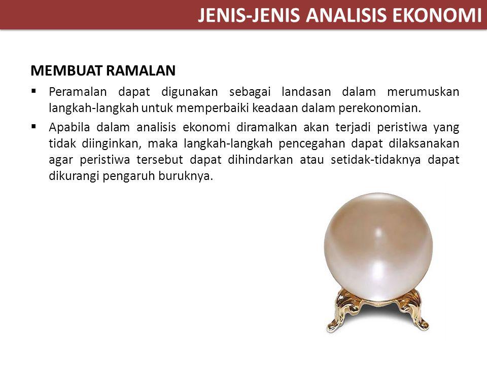 JENIS-JENIS ANALISIS EKONOMI MEMBUAT RAMALAN  Peramalan dapat digunakan sebagai landasan dalam merumuskan langkah-langkah untuk memperbaiki keadaan d