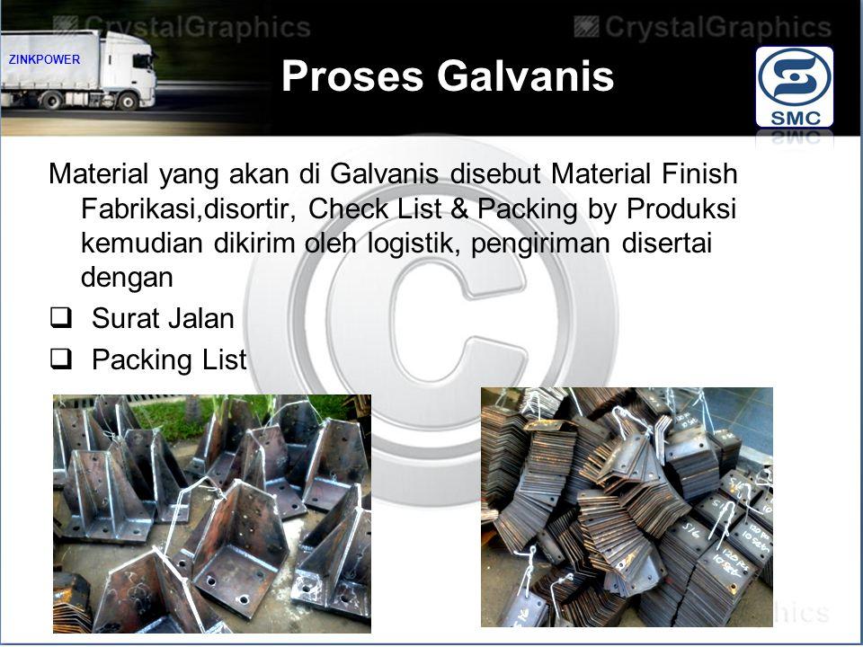 Proses Galvanis Material yang akan di Galvanis disebut Material Finish Fabrikasi,disortir, Check List & Packing by Produksi kemudian dikirim oleh logistik, pengiriman disertai dengan  Surat Jalan  Packing List ZINKPOWER