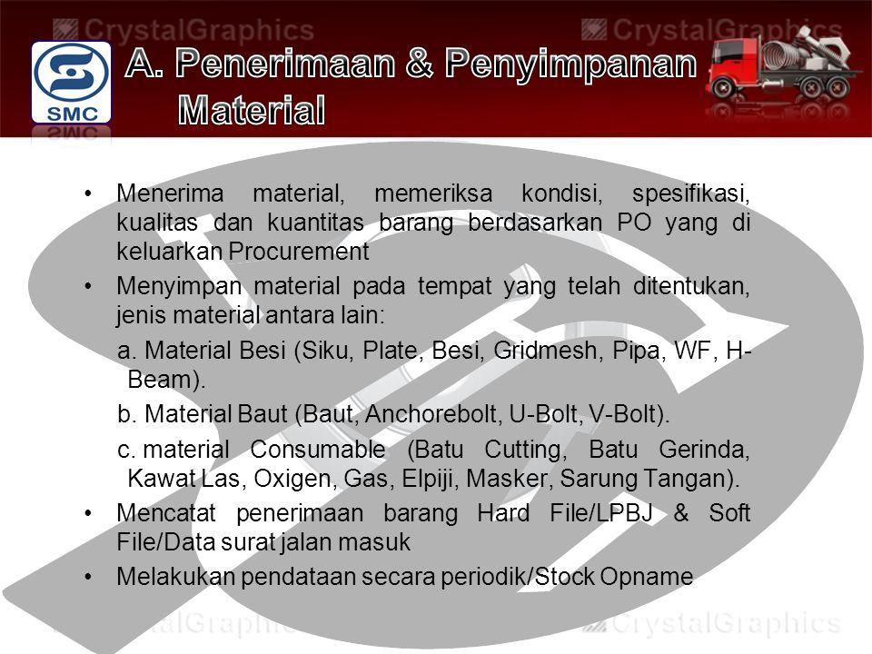 Menerima material, memeriksa kondisi, spesifikasi, kualitas dan kuantitas barang berdasarkan PO yang di keluarkan Procurement Menyimpan material pada tempat yang telah ditentukan, jenis material antara lain: a.