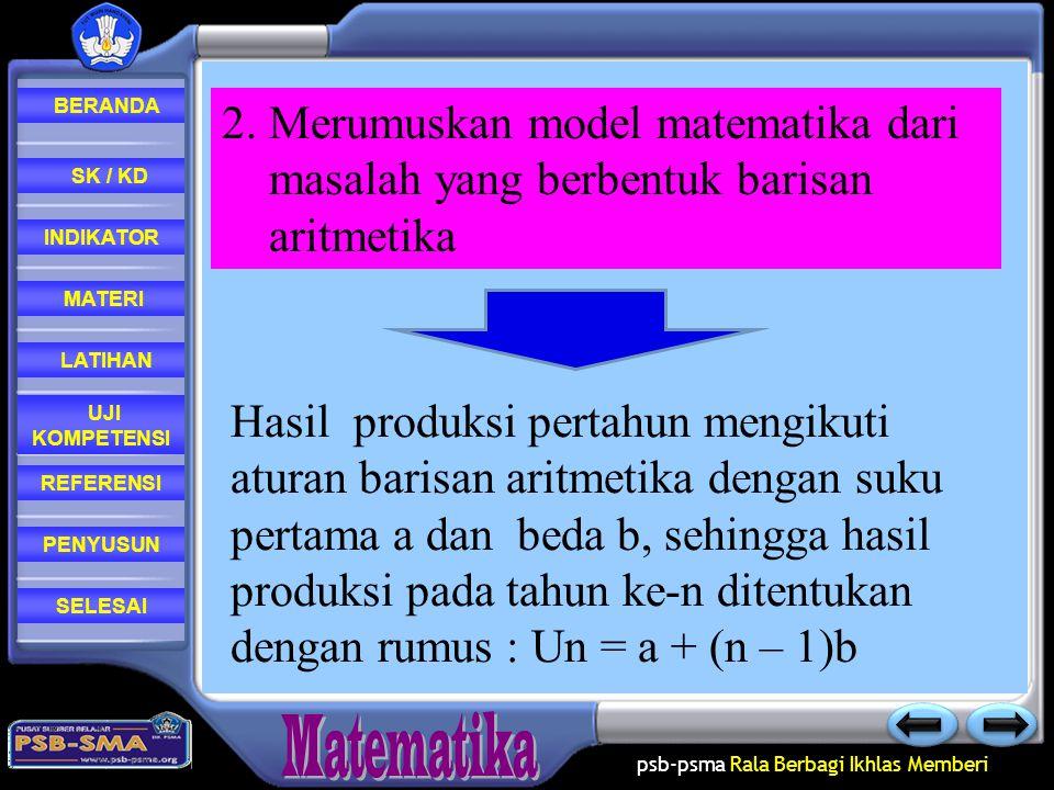 psb-psma Rala Berbagi Ikhlas Memberi REFERENSI LATIHAN MATERI PENYUSUN INDIKATOR SK / KD UJI KOMPETENSI BERANDA SELESAI Langkah-langkah : 1. Misalkan
