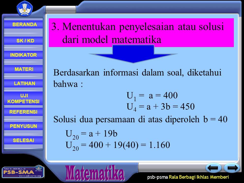 psb-psma Rala Berbagi Ikhlas Memberi REFERENSI LATIHAN MATERI PENYUSUN INDIKATOR SK / KD UJI KOMPETENSI BERANDA SELESAI 2. Merumuskan model matematika