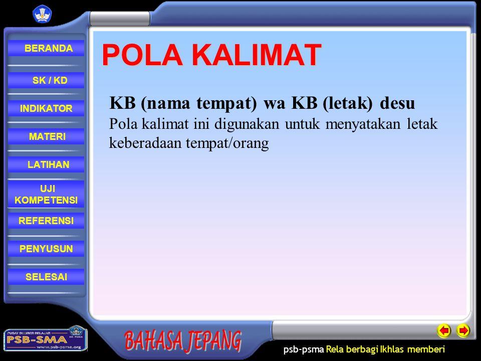 psb-psma Rela berbagi Ikhlas memberi REFERENSI LATIHAN MATERI PENYUSUN INDIKATOR SK / KD UJI KOMPETENSI BERANDA SELESAIMATERI TONARI MAE