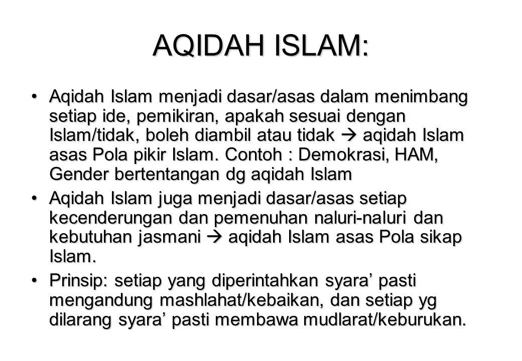 AQIDAH ISLAM: Aqidah Islam menjadi dasar/asas dalam menimbang setiap ide, pemikiran, apakah sesuai dengan Islam/tidak, boleh diambil atau tidak  aqidah Islam asas Pola pikir Islam.